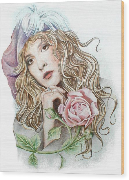 Stevie With Rose Wood Print