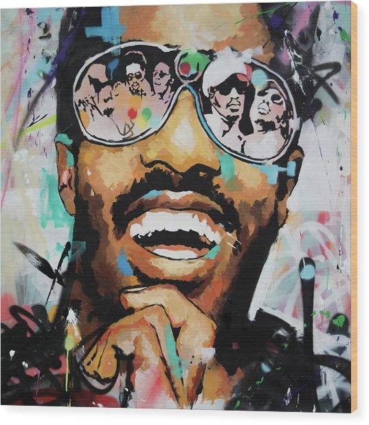Stevie Wonder Portrait Wood Print