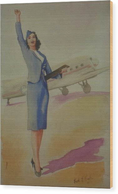 Stewardess And Dc3 Wood Print
