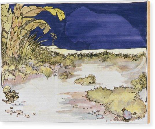 Sticker Landscape 4 Oasis Wood Print by Karl Frey