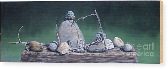 Sticks And Stones Wood Print by David Francis