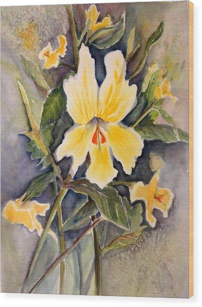 Sticky Monkey Flower Wood Print