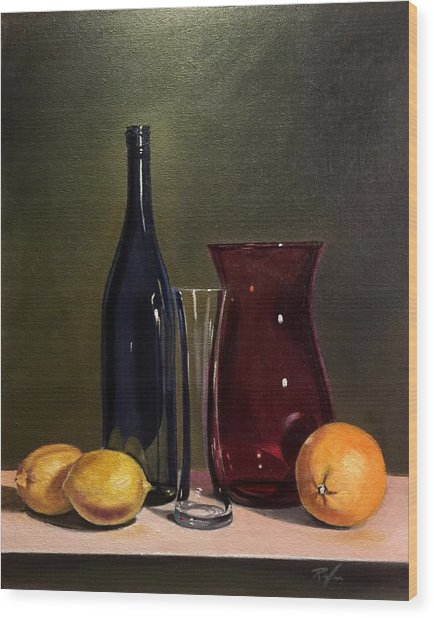 Still Life With Bottle, Vases And Fruit Wood Print