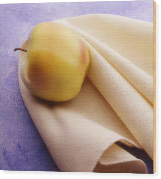 123 - Still Life - Apple And Napkin Wood Print by Eric  Copeman