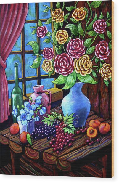 Still Life By The Window Wood Print