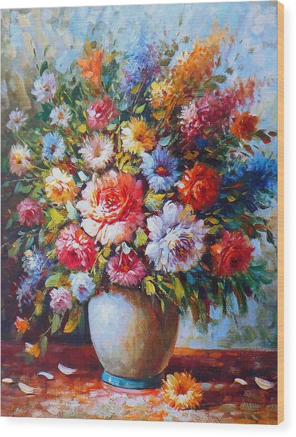 Still Life Colourful Flowers In Bloom Wood Print
