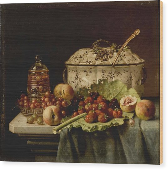 Still Life  Fruit And Dishes  Late 19th Century Oil On Panel Gottfried Schultz  German  1842  1919 Wood Print