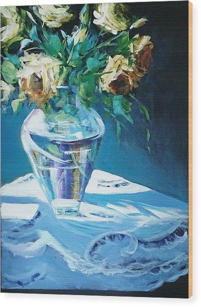 Still Life In Glass Vase Wood Print