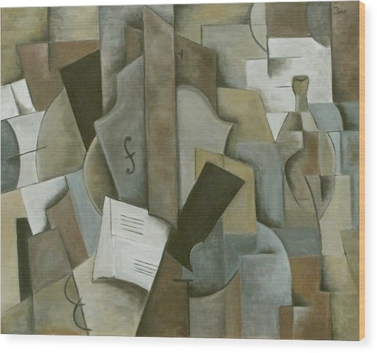 Still Life Music And Bottle Wood Print