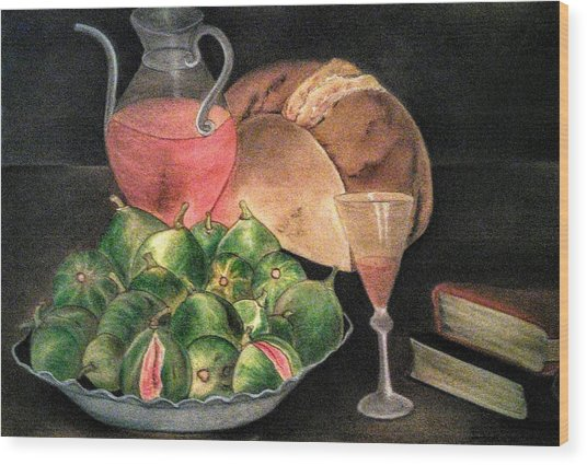 Still Life Of Figs, Wine, Bread And Books Wood Print