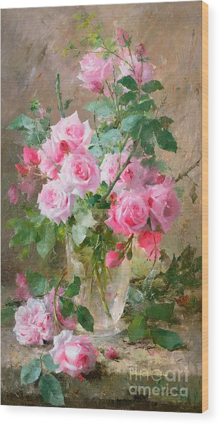 Still Life Of Roses In A Glass Vase  Wood Print