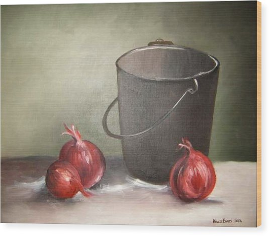 Still Life Onions Wood Print by Nellie Visser