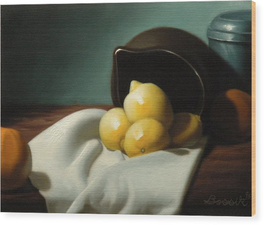 Still Life Painting Three Beauties Wood Print by Eric Bossik