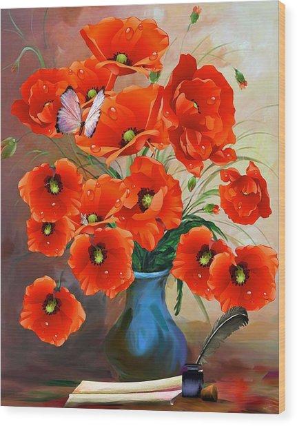 Still Life Poppies Wood Print