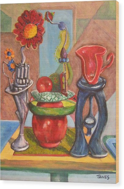 Still Life Reconstructed Wood Print by Dennis Tawes