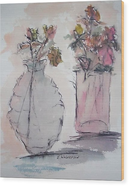 Still Life- Vase With Flowers Wood Print by Edward Wolverton