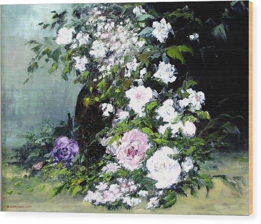 Still Life W/flowers Wood Print