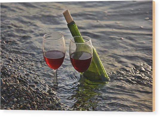 Still Life Wine At The Beach Wood Print