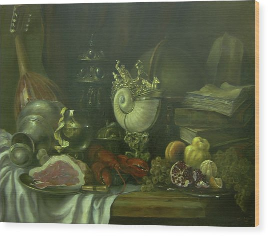 Still-life With A Lobster Wood Print