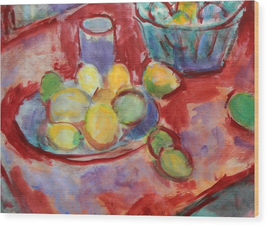 Still Life With A Red Cloth Wood Print by Andrey Semionov