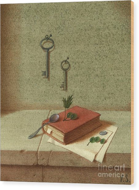 Still Life With A Small Book Wood Print