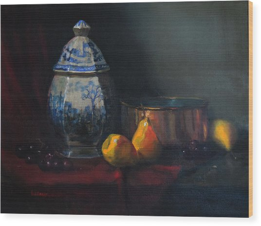 Still Life With Antique Dutch Vase Wood Print