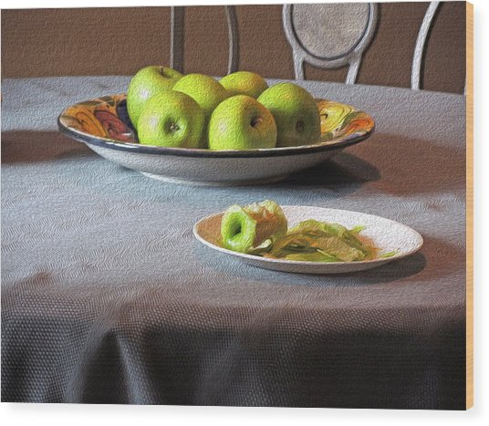 Still Life With Apples And Chair Wood Print