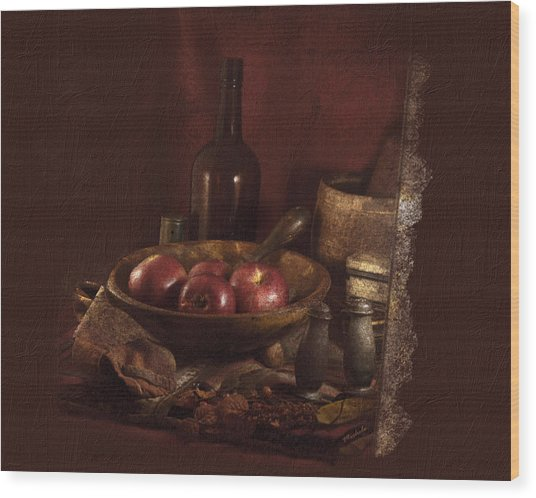 Still Life With Apples, Bottles, Baskets And Shakers. Wood Print