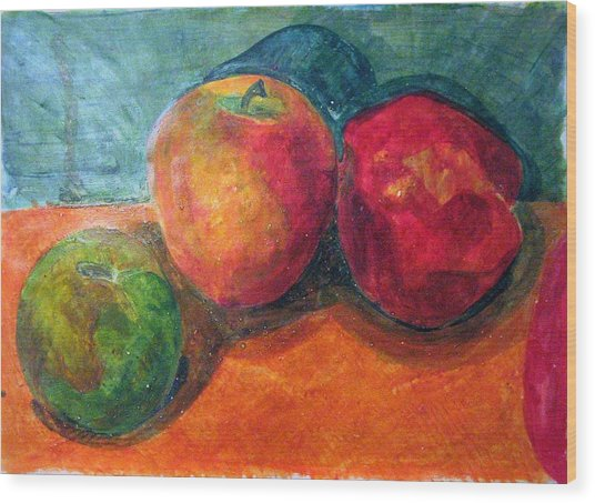 Still Life With Apples Wood Print by Jame Hayes