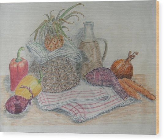Still Life With Baby Pineapple Wood Print by Geraldine Leahy