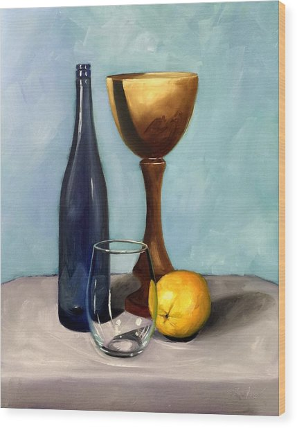 Still Life With Blue Bottle Wood Print