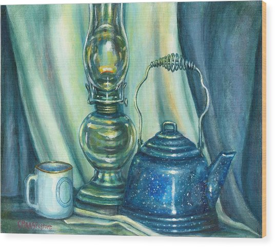 Still Life With Blue Tea Kettle Wood Print by Colleen  Maas-Pastore