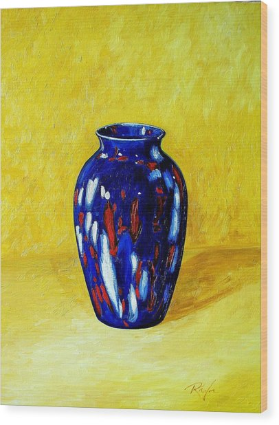 Still Life With Blue Vase Wood Print