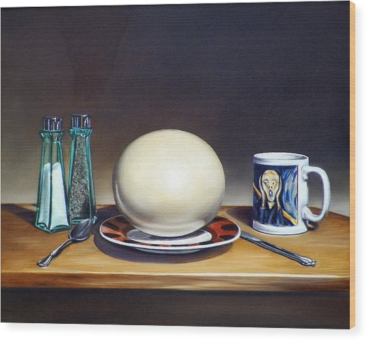 Still Life With Boiled Ostrich Egg Wood Print