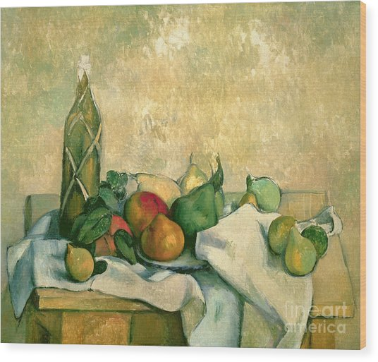 Still Life With Bottle Of Liqueur Wood Print