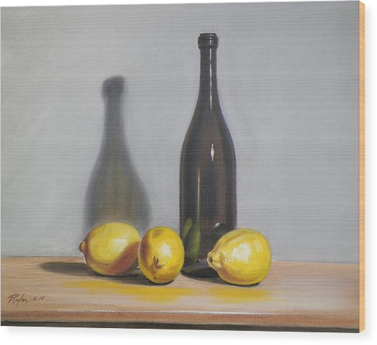Still Life With Brown Bottle And Lemons Wood Print