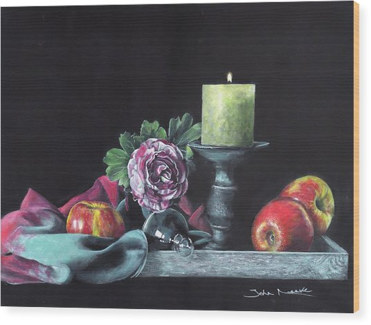 Still Life With Candle Wood Print