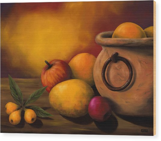 Still Life With Ceramic Pot Wood Print by Enaile D Siffert