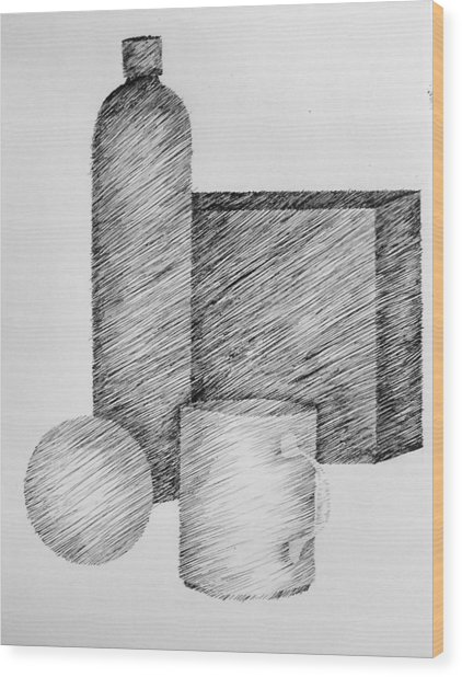 Still Life With Cup Bottle And Shapes Wood Print
