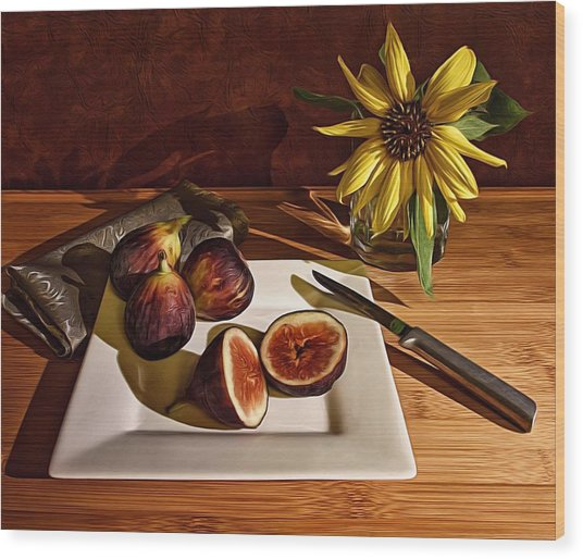 Still Life With Flower And Figs Wood Print