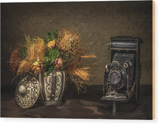 Still Life With Flowers And Camera Wood Print