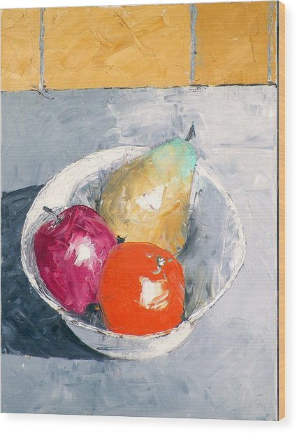 Still Life With Fruit In Bowl Wood Print