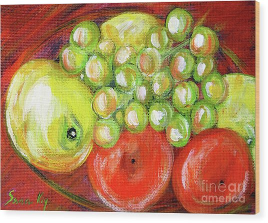 Still Life With Fruit. Painting Wood Print