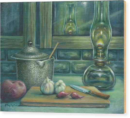 Still Life With Garlic Wood Print by Colleen  Maas-Pastore