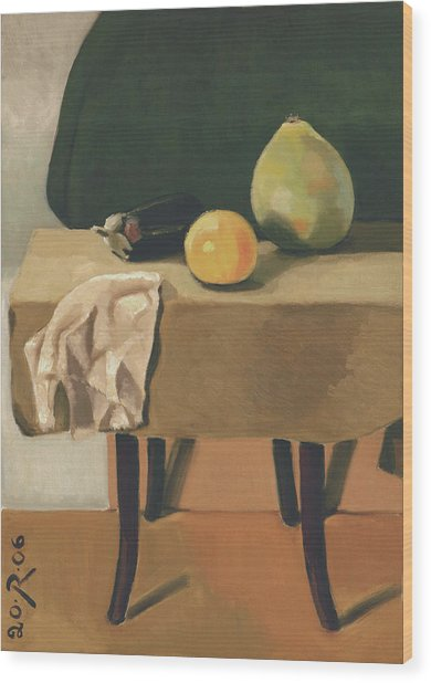 Still-life With Grapefruit Wood Print by Raimonda Jatkeviciute-Kasparaviciene