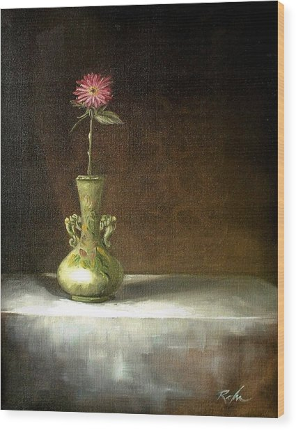 Still Life With Green Vase Wood Print