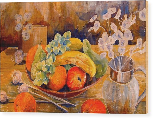 Still Life With Honesty Wood Print by Wendy Head