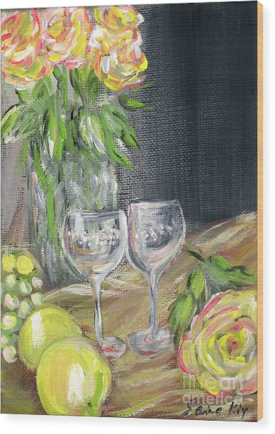 Still Life With Lemons, Roses  And Grapes. Painting Wood Print