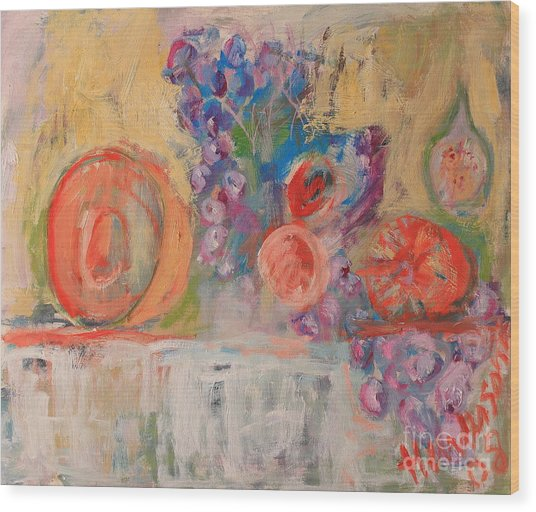 Still Life With Melon And Fig Wood Print by Michael Henderson