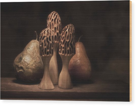 Still Life With Mushrooms And Pears I Wood Print
